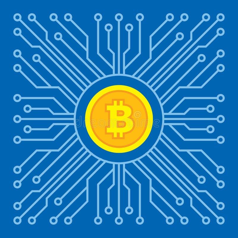 Bitcoin blockchain modern technology - creative vector illustration. Cryptocurrency digital money concept symbol. Computer chip. vector illustration