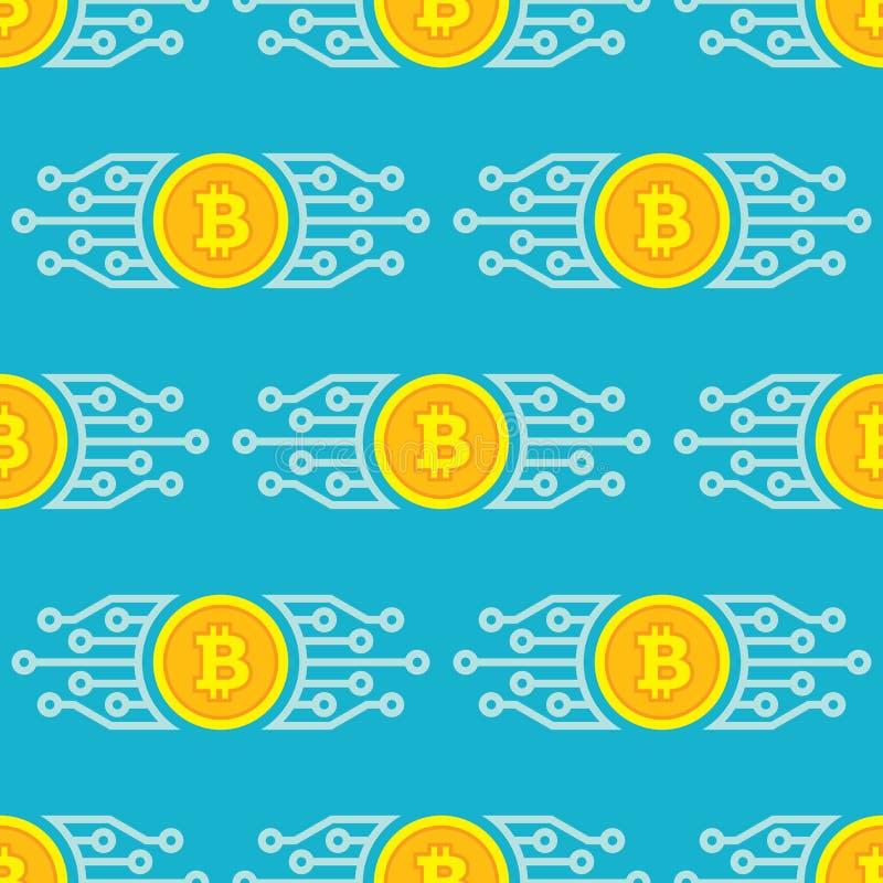 Bitcoin blockchain moderne technologie - creatief vector naadloos patroon als achtergrond Het conceptensymbool van het Cryptocurr royalty-vrije illustratie