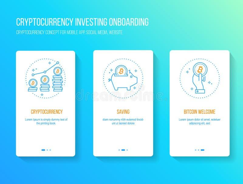 Bitcoin blockchain, walkthrough för design för cryptocurrencyinvesteringlägenhet onboarding splashscreen royaltyfri illustrationer