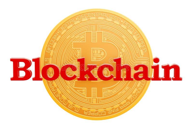 Bitcoin blockchainbegrepp framförande 3d vektor illustrationer
