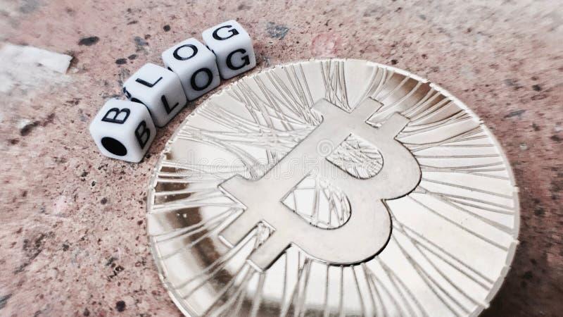 Bitcoin-Blogaufschrift stockfoto