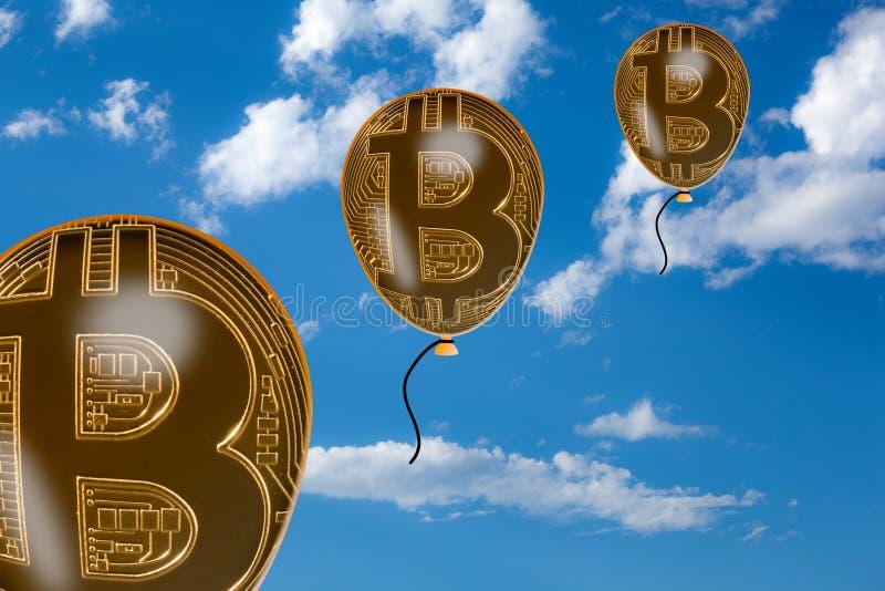Bitcoin bouillonne flottant dans le ciel illustration de vecteur