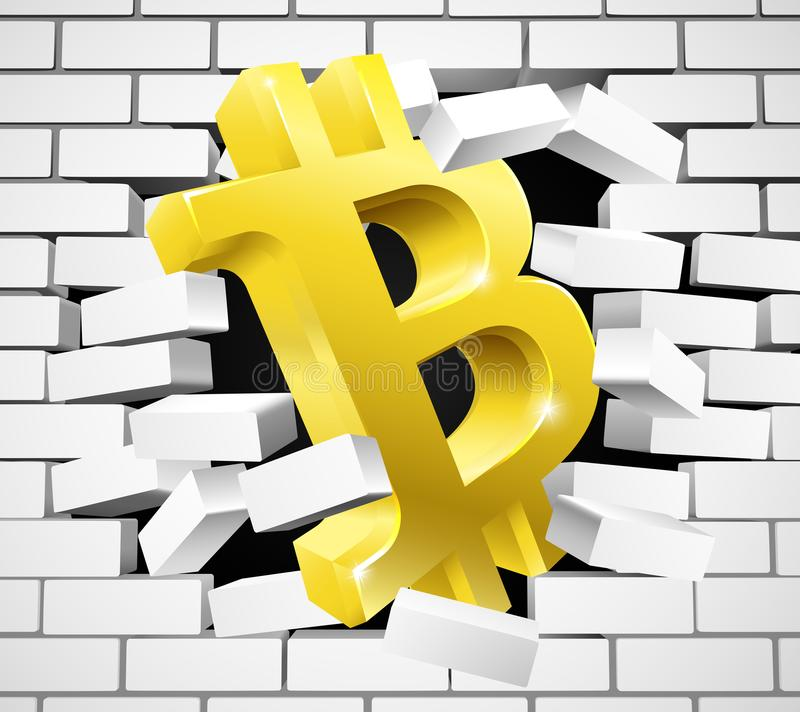 Bitcoin Breaking White Wall Concept Stock Vector - Illustration of ...
