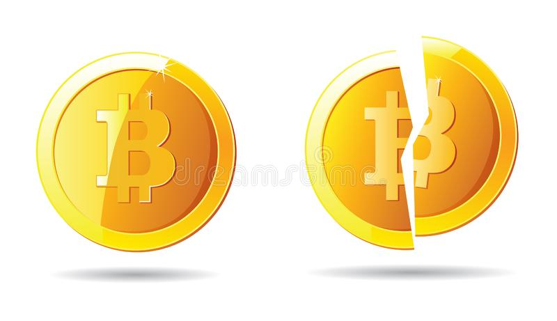 Bitcoin and broken bitcoin yellow cryptocurrency logo royalty free illustration