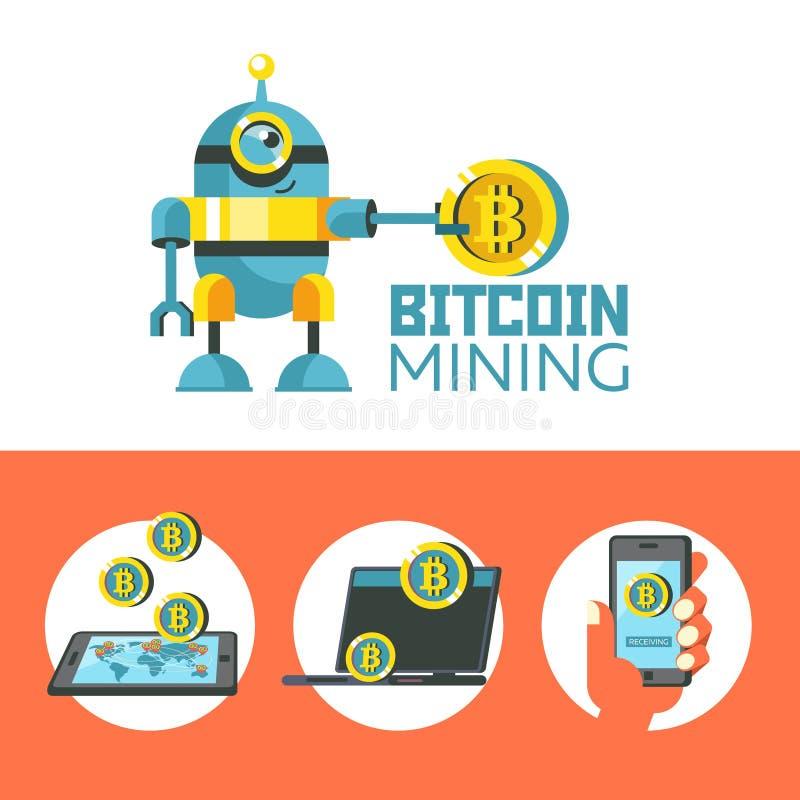 Bitcoin bryta Den gulliga roboten producerar bitcoins Vektor Illustratio royaltyfri illustrationer