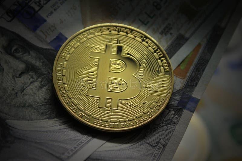 Bitcoin BTC Bit Cryptomoneda. primer. Concepto del intercambio de dinero electr?nico imágenes de archivo libres de regalías
