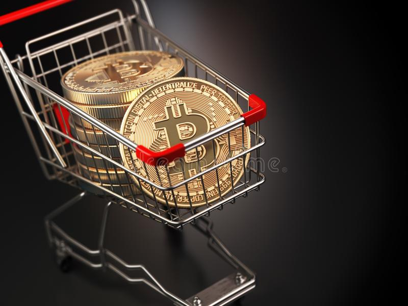 Bitcoin BTC coins in the shopping cart on black background. Cryptocurrency market concept. vector illustration