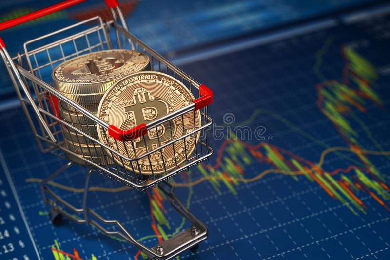 Bitcoin BTC coins in the shopping cart on the financial diagram. royalty free illustration
