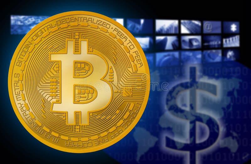 Bitcoin BTC contre le symbole d'USD du dollar illustration de vecteur