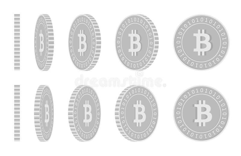 Bitcoin,互联网货币转动的硬币集合,美洲黑杜鹃 库存例证