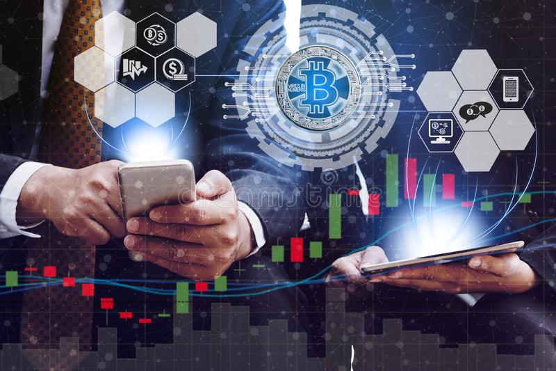 Bitcoin BTC and Cryptocurrency Trading Concept stock illustration