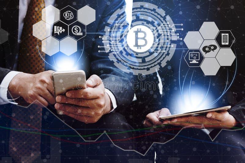 Bitcoin BTC en Cryptocurrency-Handelconcept stock afbeeldingen