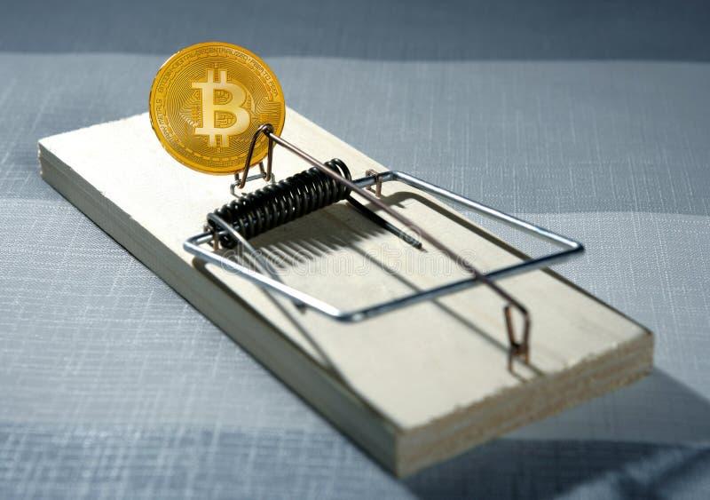 Bitcoin BTC som ett musfällabegrepp arkivbild
