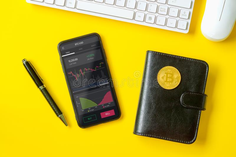 Bitcoin BTC stock exchange trading background concept. Analyzing stock market investments with financial dashboard, business royalty free stock photos