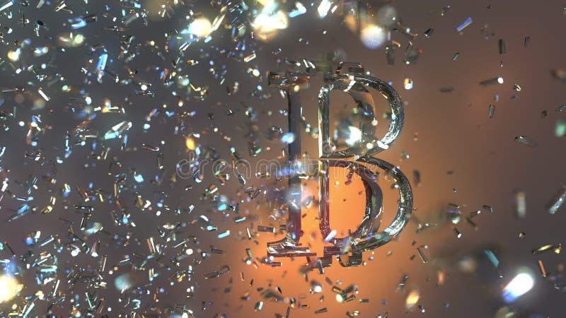 Bitcoin BTC symbol som göras av exponeringsglas Cryptocurrency eller finansmarknadtrendbegrepp framförande 3d arkivbild
