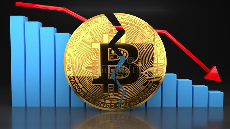 Bitcoin bubble price crash, value graph going down royalty free stock photo