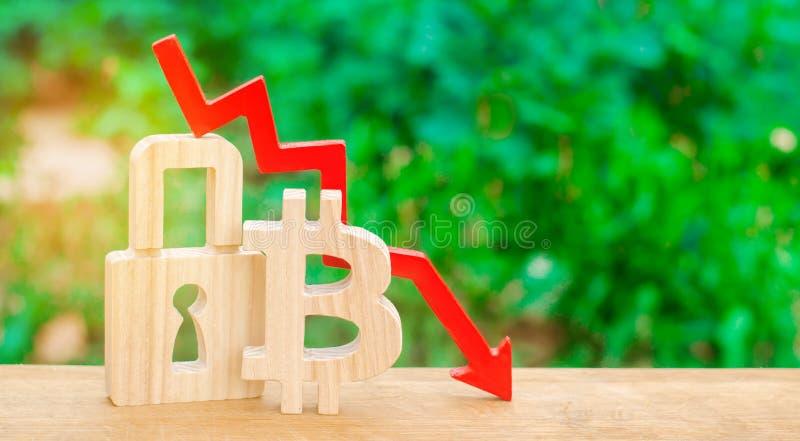 Bitcoin, cadeado e seta para baixo O conceito de uma gota no custo do bitcoin Corte e roubo, investimentos incertos A queda fotos de stock royalty free