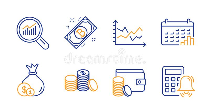 Bitcoin, Calendar graph and Diagram chart icons set. Payment method, Data analysis and Cash signs. Vector. Bitcoin, Calendar graph and Diagram chart line icons royalty free illustration