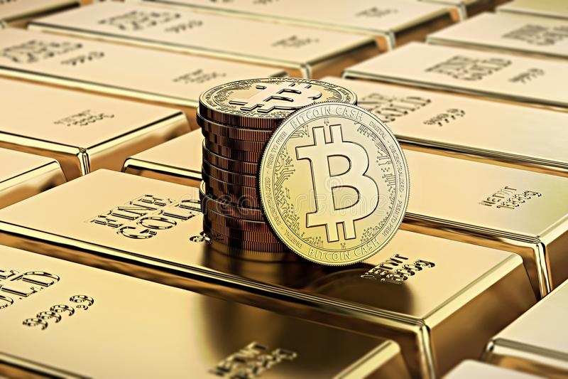 Bitcoin Cash coins laying on stacked gold bars gold ingots rendered with shallow depth of field. Concept of highly desirable cryptocurrency. 3D rendering stock illustration