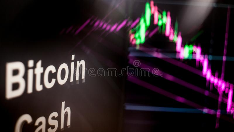 Bitcoin cash Cryptocurrency token. The behavior of the cryptocurrency exchanges, concept. Modern financial technologies. vector illustration