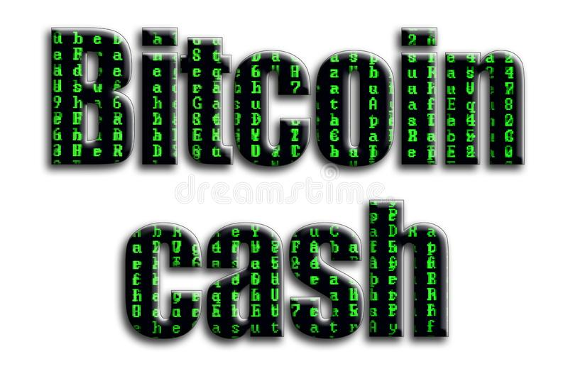 Bitcoin cash. The inscription has a texture of the photography, which depicts the green glitch symbols vector illustration