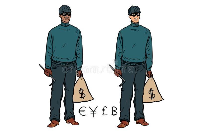 Bitcoin caucasiano africano dos ienes da libra do Euro do dólar do ladrão do ladrão ilustração stock