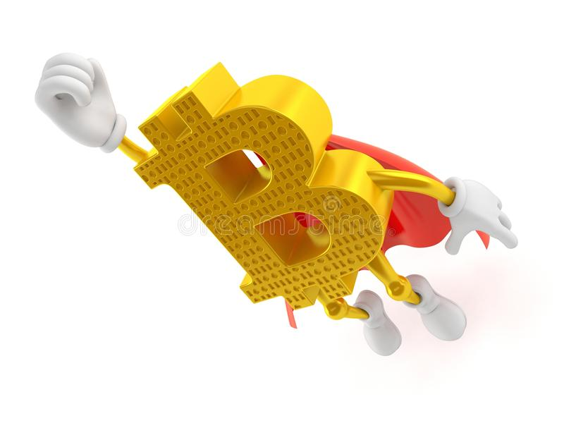 Bitcoin character flying with hero cape vector illustration
