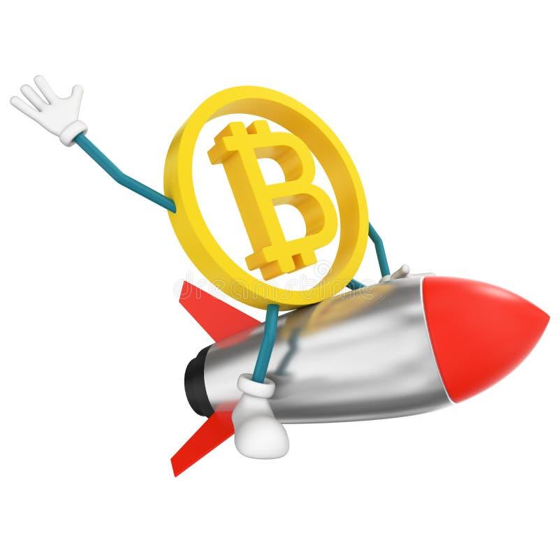 Bitcoin character flying on rocket vector illustration