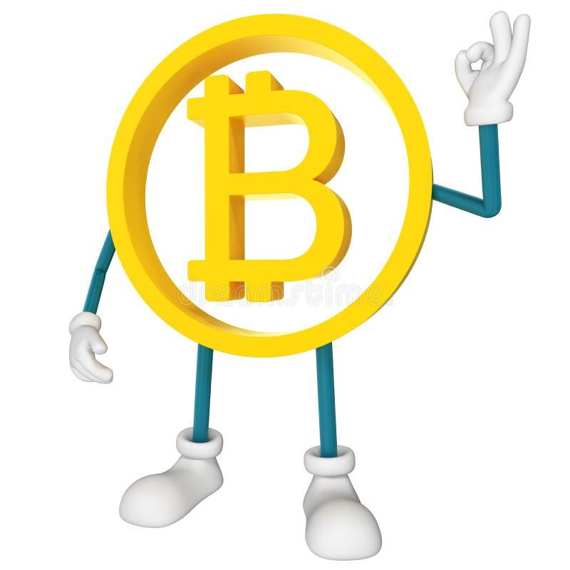 Bitcoin character ok. 3D rendering vector illustration