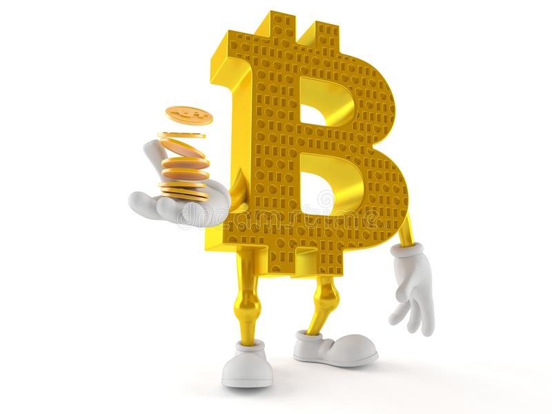 Bitcoin character with stack of coins vector illustration