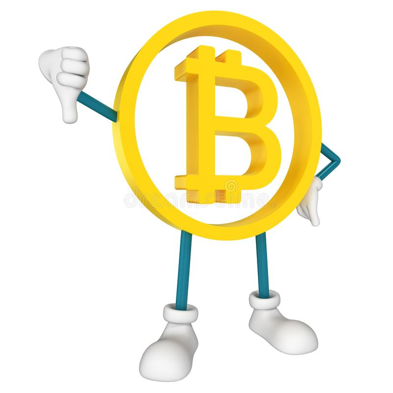 Bitcoin character thumbs down. 3D rendering vector illustration