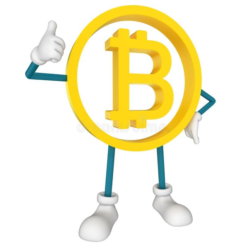 Bitcoin character thumbs up vector illustration