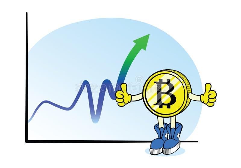 Bitcoin chart with cartoon character stock illustration