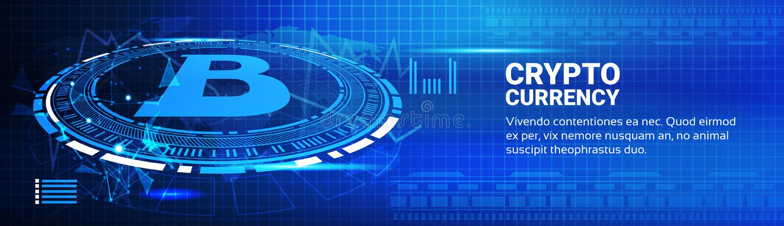 Bitcoin Charts Modern Web Money Networking Technology. Crypto Currency Trading Concept Horizontal Banner Vector Illustration vector illustration