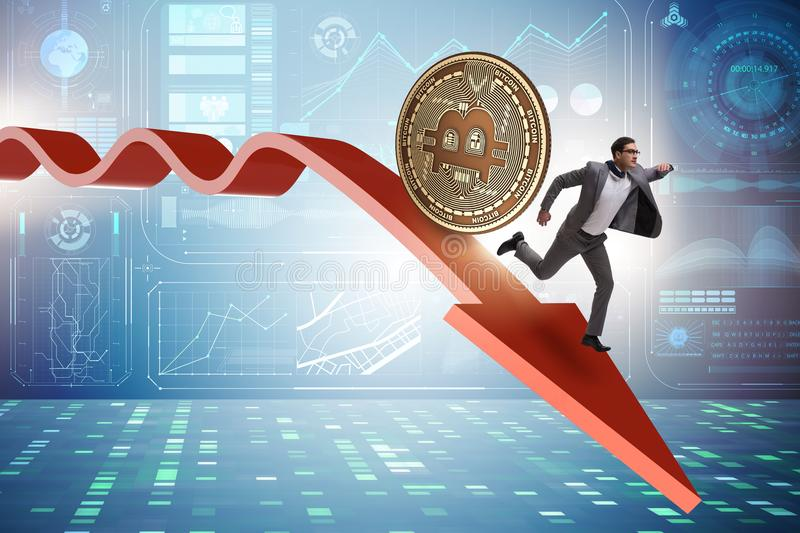 The bitcoin chasing businessman in cryptocurrency price crash. Bitcoin chasing businessman in cryptocurrency price crash stock illustration