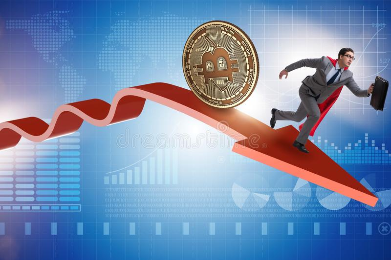 The bitcoin chasing businessman in cryptocurrency price crash. Bitcoin chasing businessman in cryptocurrency price crash royalty free illustration