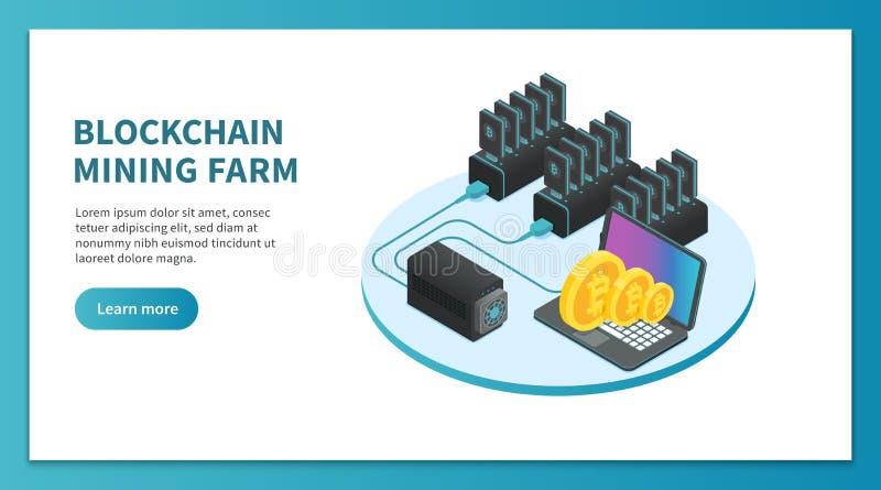 Bitcoin che estrae concetto isometrico Azienda agricola estraente di Cryptocurrency, piattaforma del mercato del bitcoin Vettore  illustrazione vettoriale