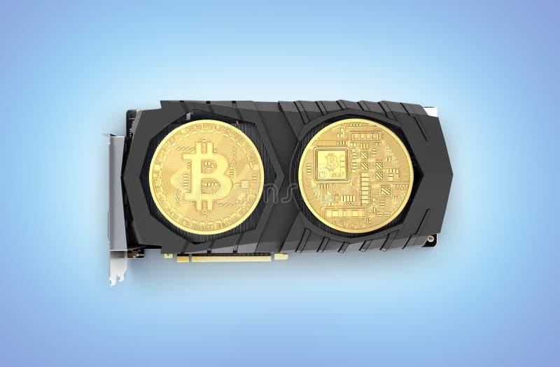 Bitcoin che estrae scheda video potente per estrarre e guadagnare concetto di cryptocurrencies isolato sul fondo blu 3D di penden illustrazione di stock