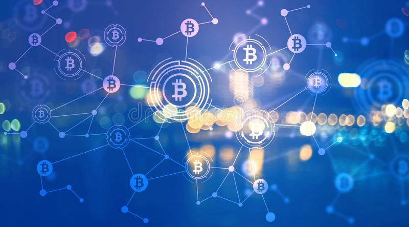 Bitcoin with city lights at night. Bitcoin with blurred city lights at night vector illustration