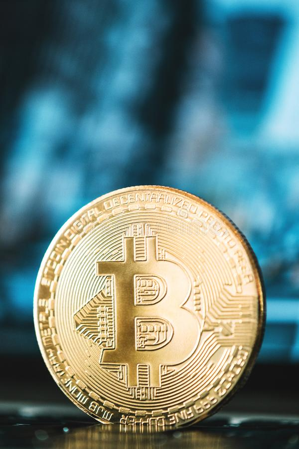 Bitcoin close-up, business background, bitcoin concept, cryptocurrency, blockchain royalty free stock photo