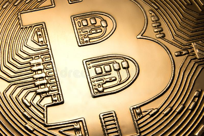 Bitcoin close-up. Electronic payments, blockchain technology royalty free stock photo