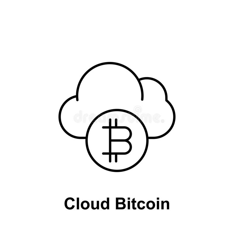Bitcoin cloud outline icon. Element of bitcoin illustration icons. Signs and symbols can be used for web, logo, mobile app, UI, UX royalty free illustration