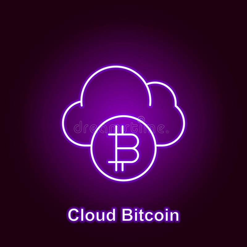 bitcoin cloud outline icon in neon style. Element of cryptocurrency illustration icons. Signs and symbols can be used for web, stock illustration