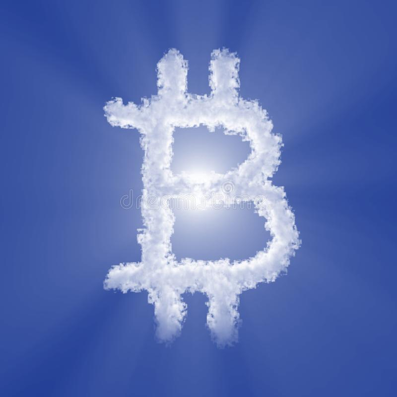 Bitcoin cloud sign with volume light on blue sky and sun. 3d illustration royalty free illustration