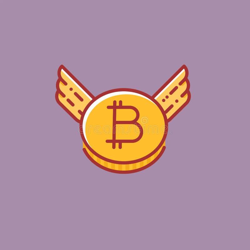 Bitcoin со значком крыльев, плоским знаком стиля дизайна иллюстрация штока