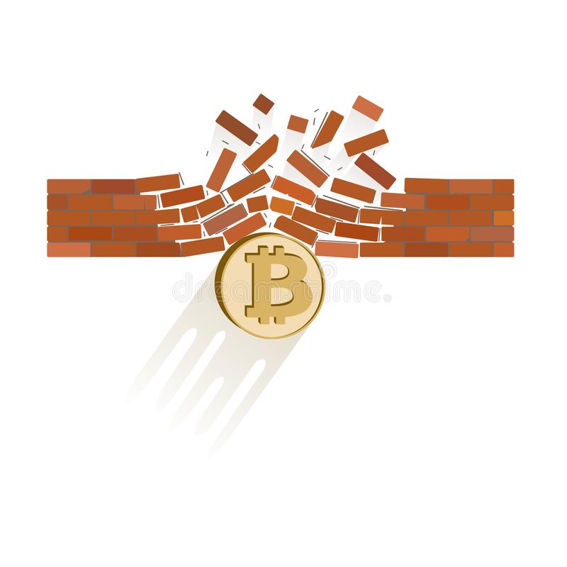 Bitcoin coin breaks through the wall resistance stock illustration
