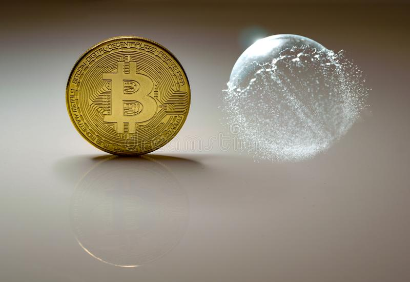 Bitcoin coin and bursting soap bubble vector illustration