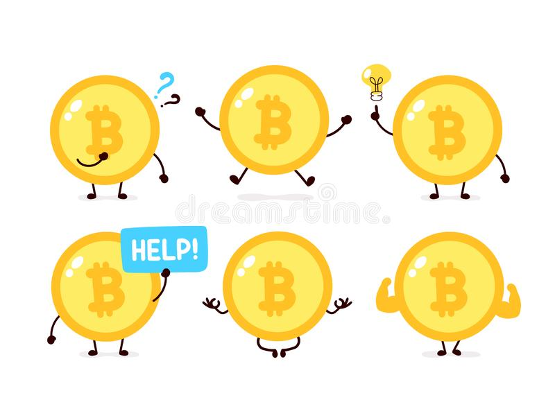 Bitcoin coin character set collection royalty free illustration
