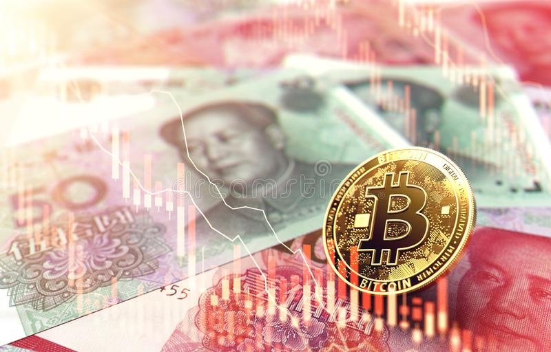 Bitcoin coin on Chinese Yuan banknotes with red stock market diagram overlay. Bitcoin price plummeting concept. 3D Rendering. Bitcoin coin on Chinese Yuan vector illustration