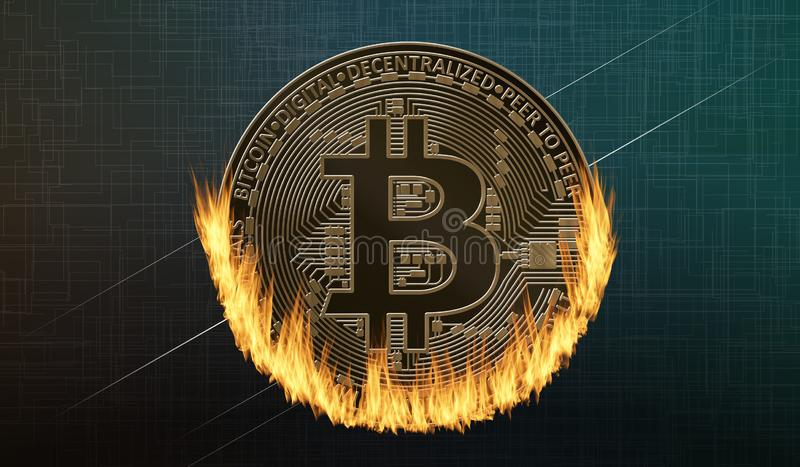 Bitcoin coin in fire. On dark green background vector illustration